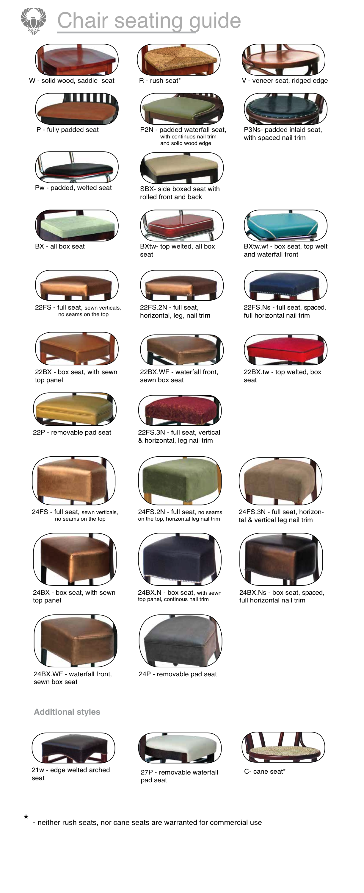 Seat Types Eagle Chair Inc